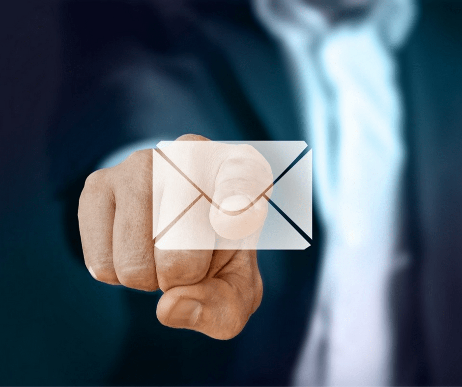 Finger Poining at Email Icon