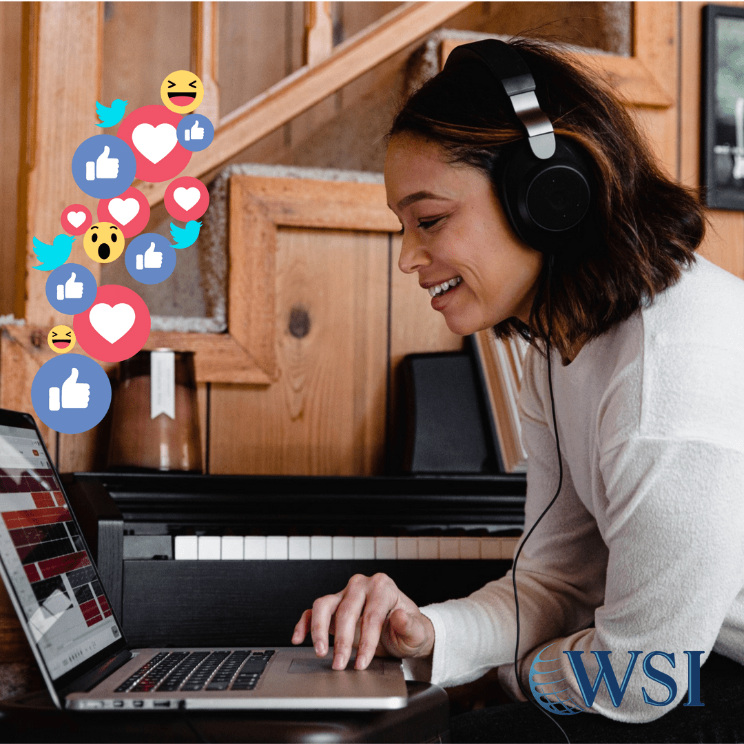 Woman with Headphones and Social Media Icons